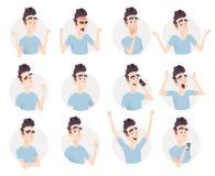 Colección del avatar del hombre joven Expresión y sistema de la emoción libre illustration