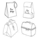 Colección del bolso del almuerzo Conceptos fáciles de la fiambrera Diversos bolsos de la comida y cajas de la comida Foto de archivo