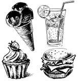 Colección del bosquejo de los alimentos de preparación rápida y de los postres Foto de archivo