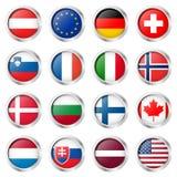colección del botón con las banderas de país Imagen de archivo