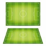 Colección del campo de fútbol Campos de fútbol con pisoteado abajo de hierba Visión superior y opinión de perspectiva Fotografía de archivo