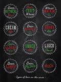 Colección del cartel de casquillos de la cerveza. Tiza del color. Fotos de archivo libres de regalías
