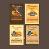 Colección del cartel de la celebración de la acción de gracias de Turquía con el ornamento y las comidas stock de ilustración