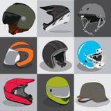 Colección del casco para su deporte principal de la mosca del paseo Fotografía de archivo libre de regalías