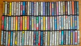 Colección del casete audio, visión superior fotos de archivo