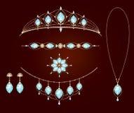 Colección del collar de tiaras stock de ilustración