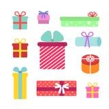 Colección del color de 10 cajas de regalo planas Sistema del vector imagen de archivo