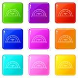 Colección del color del sistema 9 de los iconos del horno del pan ilustración del vector