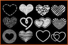 Colección del corazón de la pizarra Stock de ilustración