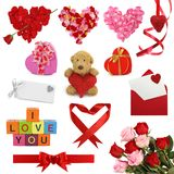 Colección del día de tarjeta del día de San Valentín Fotografía de archivo