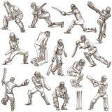 Colección del deporte del grillo cricketers Dibujos del mismo tamaño o de la mano Imagenes de archivo