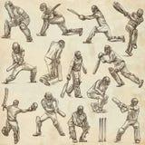 Colección del deporte del grillo cricketers Dibujos del mismo tamaño o de la mano Imagen de archivo
