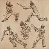 Colección del deporte del grillo cricketers Un paquete dibujado mano del vector Fotografía de archivo