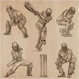 Colección del deporte del grillo cricketers Un paquete dibujado mano del vector Fotos de archivo libres de regalías