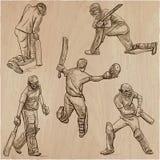 Colección del deporte del grillo cricketers Un paquete dibujado mano del vector Fotografía de archivo libre de regalías