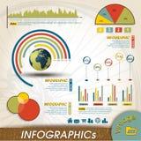 Colección del diseño de Infographic del vintage, cartas y   Fotos de archivo libres de regalías