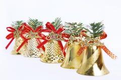 Colección del diseño de la campana de oro de la Navidad Imagenes de archivo