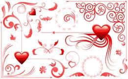Colección del diseño del marco de la tarjeta del día de San Valentín stock de ilustración