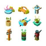 Colección del diseño del paisaje del jardín del videojuego de elementos Fotos de archivo libres de regalías