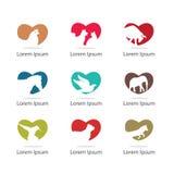 Colección del ejemplo de los animales de animal doméstico en forma del corazón gato, perro, diseño del icono del caballo paloma,  libre illustration