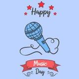 Colección del estilo de la tarjeta de la celebración del día de la música stock de ilustración