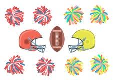 Colección del fútbol americano Imagen de archivo libre de regalías