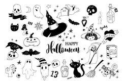 Colección del feliz Halloween de garabatos stock de ilustración