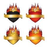 Colección del fuego 4 del corazón Imágenes de archivo libres de regalías