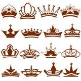 Colección del icono de la corona Imagen de archivo libre de regalías