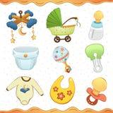 Colección del icono de la historieta de la materia del bebé Imágenes de archivo libres de regalías