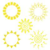 Colección del icono de Sun Fotografía de archivo libre de regalías