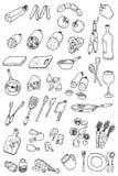 Colección del icono del alimento del drenaje de la mano Fotos de archivo libres de regalías