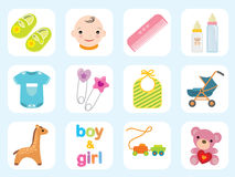 Colección del icono del bebé Fotografía de archivo libre de regalías