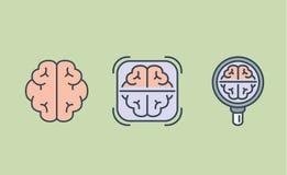 Colección del icono del cerebro con la lupa y el marco stock de ilustración