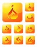 Colección del icono del fuego Imagenes de archivo