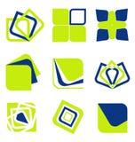 Colección del icono del negocio del extracto del verde azul Imagenes de archivo