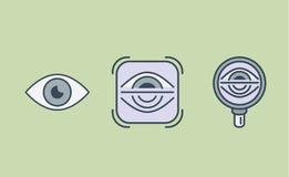 Colección del icono del ojo con la lupa y el marco libre illustration