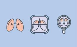 Colección del icono del pulmón con la lupa y el marco ilustración del vector