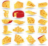 Colección del icono del queso Fotografía de archivo libre de regalías