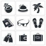 Colección del icono del viaje stock de ilustración