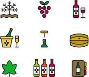 Colección del icono del vino Fotografía de archivo libre de regalías