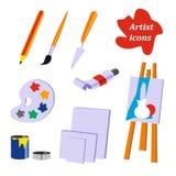 Colección del icono Herramientas del artista libre illustration