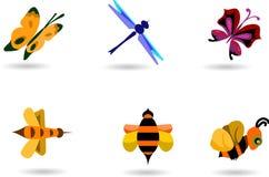 Colección del insecto de abejas y de mariposas Fotografía de archivo