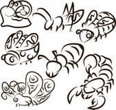 Colección del insecto - silueta del vector Imagen de archivo