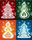 Colección de invierno de encaje del vector de los árboles Imagen de archivo