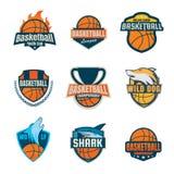 Colección del logotipo del baloncesto, sistema de la insignia del deporte stock de ilustración
