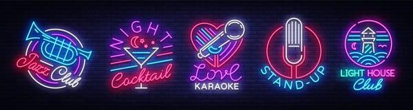 Colección del logotipo en el estilo de neón La colección Jazz Club, cóctel de la noche, Karaoke de las señales de neón, se levant ilustración del vector