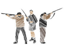 colección del Mano-gráfico de cazadores Ilustración del Vector