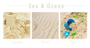 Colección del mar y del océano - collage con el texto: , Castillo, arena y juguetes foto de archivo