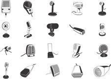 Colección del micrófono Fotografía de archivo libre de regalías